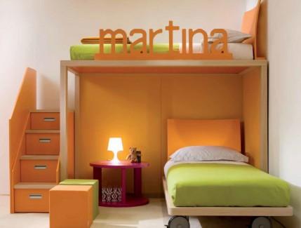 Boxer arancio letto a soppalco per bambini e ragazzi Belvi camerette Torino
