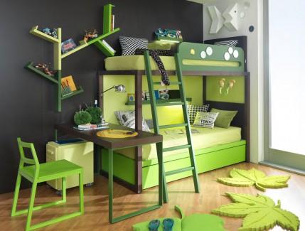 Boxer verde letto a soppalco per bambini e ragazzi Belvi camerette Torino