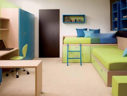 Compact legno e verde Cameretta Bambino Belvì Torino