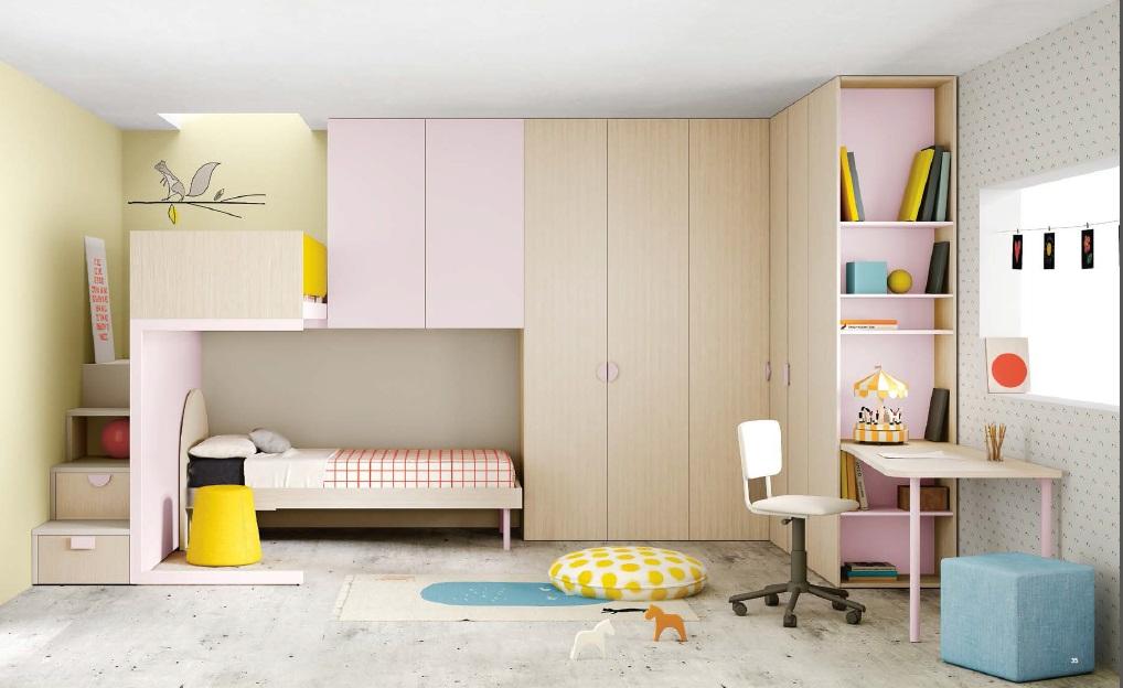Ponte Pink letto a soppalco armadiature pensili per bambini Belvi camerette Torino