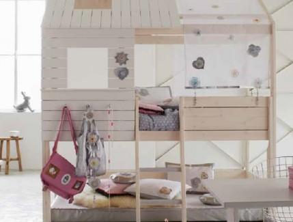 Nordica Casetta legno alta letto per bambini Belvi camerette Torino