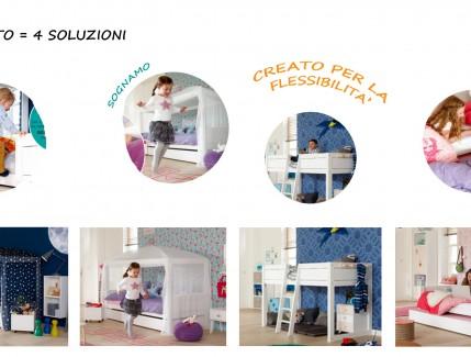 Nordica Quattro in uno letto trasformabile evolutivo per bambini Belvi camerette Torino