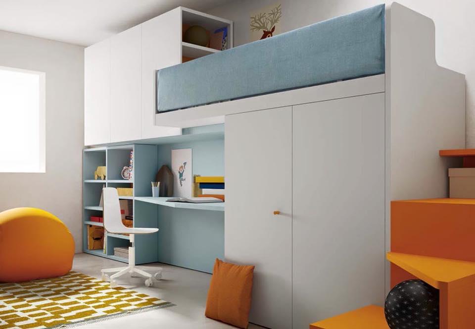 Ponte Orange letto a soppalco armadiature pensili per bambini Belvi camerette Torino