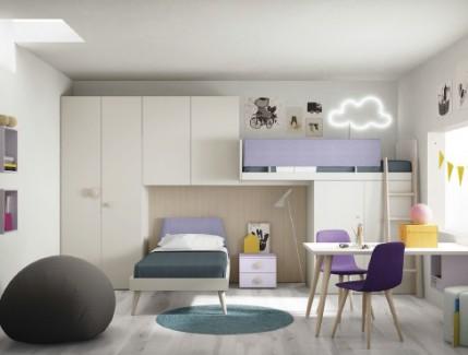 Ponte Violet letto a sopplaco armadiature pensili per bambini Belvi camerette Torino